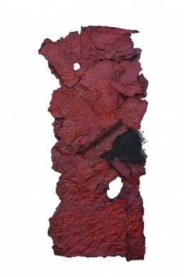 bezzina bernard, divition papier déchiré rouge, sculpture bezzina, Galerie d'art Cannes, Galerie Hurtebize, art contemporain, contemporary art, sculpture