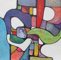 anna nansky, les amants, Galerie d'art Cannes, Galerie Hurtebize, achat tableau art, art contemporain, contemporary art, art abstrait, abstract art, peintures, tableau, painting