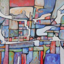 peinture acrylique violet et bleu sur toile violet, rouge et bleu de Anna Nasky