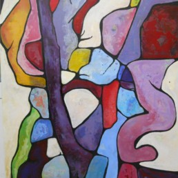 peinture acrylique violet et bleu sur toile violet et bleu de Anna Nasky