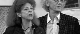 Portrait noir & blanc de Christo et Jeanne-Claude, artistes contemporains