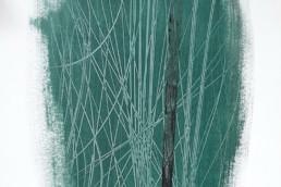 papier avec peinture vinylique verte de Hans Hartung