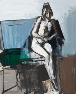 huile sur toile femme assise de Michel Mousseau