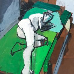 huile sur toile femme nue allongée sur fond vert de Michel Mousseau