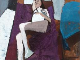 huile sur toile femme nue allongée sur fond violet de Michel Mousseau