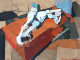 huile sur toile femme nue allongée sur fond orangede Michel Mousseau