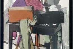 Nature morte -table - de Michel Mousseau peinte à l'huile sur toile avec un grand colorisme.