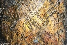 huile sur toile avec peinture projetée bleue, jaune et multicolore de Jean-Jacques Marie