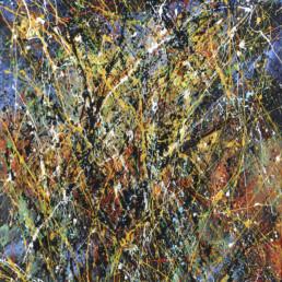 huile sur toile avec peinture projetée bleue et multicolore de Jean-Jacques Marie