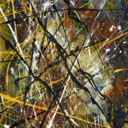 huile sur toile avec peinture projetée jaune et multicolore de Jean-Jacques Marie