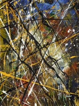 jaune, bleu, noir,peinture, painting, art contemporain, contemporary art, gallery, galerie d'art cannes, galerie hurtebize