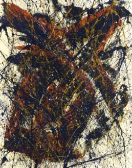 huile sur toile avec peinture projetée orange, noire et beige de Jean-Jacques Marie
