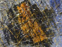 huile sur toile avec peinture projetée bleue, noire et orange de Jean-Jacques Marie