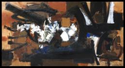 huile sur toile couleur marron, noir, blanc et pointe de bleue de John levée