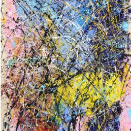 huile sur toile avec peinture projetée rose, bleue, jaune de Jean-Jacques Marie