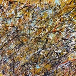 huile sur toile avec peinture projetée orange et multicolore de Jean-Jacques Marie