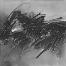 une huile sur toile d'André Marfaing abstraite noire et blanche et grise issue de l'abstraction lyrique