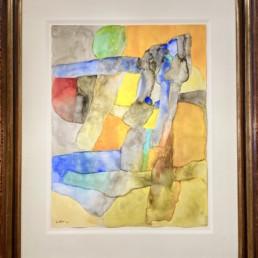 Aquarelle sur papier de Maurice Estève dans un cadre avec verre musée