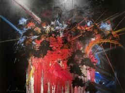 toile obsessions vides de Georges Mathieu avec coulures de peinture et projections colorées