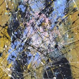 projections acryliques colorées façon dripping Jackson Pollock sur fond brossé en couleurs