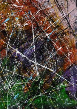 projections acryliques colorées façon dripping Jackson Pollock sur fond brossé en couleurs vert, noir et violet