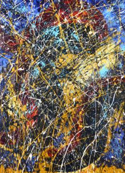 projections acryliques colorées façon dripping Jackson Pollock sur fond brossé en couleurs bleu, noir et beige