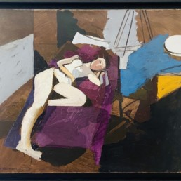 nu alangui de Michel Mousseau peint à l'huile sur toile avec une nature morte dont un canapé violet d'un grand colorisme.