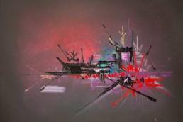 Huile sur toile le Mytilène de Georges Mathieu
