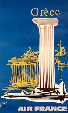 Affiche Air France Grèce de Georges Mathieu de 1967